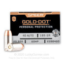 45 ACP Defense Ammo In Stock - 185 gr JHP - 45 ACP Ammunition by Speer Gold Dot For Sale - 20 Rounds