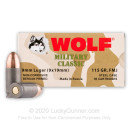 9mm Ammo For Sale - 115 gr FMJ - Wolf WPA Military Classic Ammunition In Stock - 50 Rounds