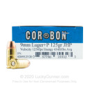 Premium 9mm Ammo For Sale - +P 125 Grain JHP Ammunition in Stock by Corbon - 20 Rounds