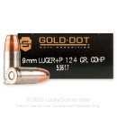 Premium 9mm Luger +P Ammo For Sale - 124 Grain HP Ammunition in Stock by Speer LE Gold Dot - 50 Rounds
