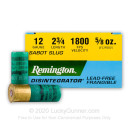 "Premium 12 Gauge Ammo For Sale - 2-3/4"" 5/8oz. Lead Free Frangible Sabot Slug Ammunition in Stock by Remington Disintegrator - 25 Rounds"