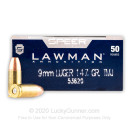 9mm Ammo For Sale - 147 gr TMJ Speer LAWMAN Ammunition In Stock - 50 Rounds