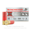 "Premium 12 Gauge Ammo For Sale - 2-3/4"" 1-1/4oz. #8 Shot Ammunition in Stock by Winchester Super-X - 25 Rounds"