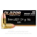 Bulk 9mm Ammo - 124 grain FMJ - Blazer Brass For Sale
