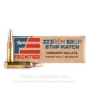 Premium .223 Rem Ammo For Sale - 68 Grain BTHP Match Ammunition in Stock by Hornady Frontier - 20 Rounds