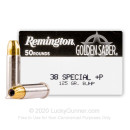 Premium 38 Special +P Ammo For Sale - 125 Grain BJHP Ammunition in Stock by Remington Golden Saber - 500 Rounds