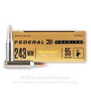 Premium 243 Ammo For Sale - 95 Grain Berger Hybrid Hunter Ammunition in Stock by Federal - 20 Rounds