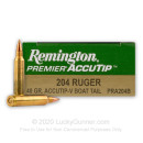 Premium 204 Ruger Ammo For Sale - 40 Grain Polymer Tip Ammunition in Stock by Remington Accutip-V Boat Tail - 20 Rounds
