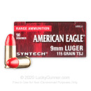 Bulk 9mm Ammo For Sale - 115 Grain TSJ Ammunition in Stock by Federal American Eagle - 500 Rounds