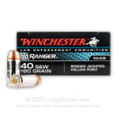 Premium 40 S&W Ammo For Sale - 180 Grain JHP Ammunition in Stock by Winchester Ranger Bonded - 500 Rounds - LE Trade-In