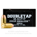 Premium 45 ACP +P Ammo For Sale - 255 Grain JHP Ammunition in Stock by Doubletap Equalizer - 20 Rounds