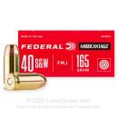 40 S&W Ammo - 165 Grain FMJ - Federal American Eagle 40 S&W Ammunition - 1000 Rounds
