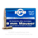 8x57mm JS Ammo For Sale - 198 gr FMJ BT Ammunition In Stock by Prvi Partizan - 20 Rounds