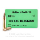 Cheap 300 AAC Blackout Ammo For Sale - 124 Grain FMJ Ammunition in Stock by Sellier & Bellot - 20 Rounds