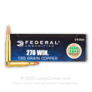 Premium 270 Ammo For Sale - 130 Grain SCHP Ammunition in Stock by Federal Power-Shok Copper - 20 Rounds