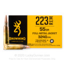 Cheap 223 Rem Ammo For Sale - 55 Grain FMJ Ammunition in Stock by Browning - 20 Rounds