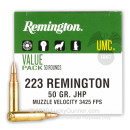 Cheap 223 Rem Ammo For Sale - 50 Grain JHP Ammunition in Stock by Remington UMC - 50 Rounds