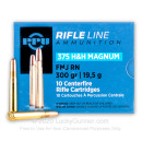 Premium 375 H&H Magnum Ammo For Sale - 300 Grain FMJ RN Ammunition in Stock by Prvi Partizan - 10 Rounds