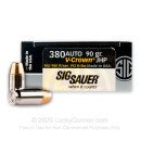 Premium Defensive 380 Auto Ammo For Sale - 90 gr JHP  - Sig Sauer V-Crown Ammunition In Stock - 20 Rounds