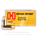 Premium 32 ACP Ammo For Sale - 60 Grain FTX Ammunition in Stock by Hornady Critical Defense - 250 Rounds