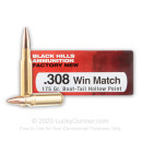 Premium 308 Win Ammo For Sale - 175 Grain Hollow Point Boat-Tail Ammunition in Stock by Black Hills Match - 20 Rounds