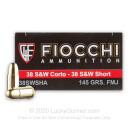 38 S&W  - 145 gr FMJ - Fiocchi - 50 Rounds
