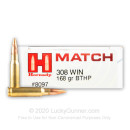 Premium 308 Win Hornady Match Ammo In Stock  - 168 gr Hornady BTHP Ammunition For Sale Online - 20 Rounds