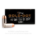 Premium 40 S&W Defense Ammo In Stock - 155 gr JHP - 40 Smith and Wesson Ammunition by Speer Gold Dot LE For Sale - 50 Rounds