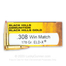 Premium 308 Ammo For Sale - 178 Grain ELD-X Ammunition in Stock by Black Hills Gold - 20 Rounds