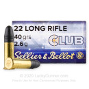 Premium 22 LR Ammo For Sale - 40 Grain LRN Ammunition in Stock by Sellier & Bellot Club - 50 Rounds