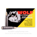 Bulk 223 Rem Ammo For Sale - 55 Grain Copper FMJ Ammunition in Stock by Wolf Polyformance - 500 Rounds