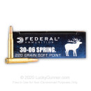 Premium 30-06 Ammo For Sale - 220 gr Hot-Cor SP - Federal Power-Shok Ammo Online - 20 Rounds