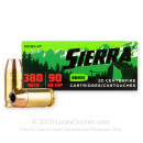 Premium 380 Auto Ammo For Sale - 90 Grain JHP Ammunition in Stock by Sierra Outdoor Master - 20 Rounds