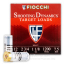 "Cheap 12 Gauge Ammo For Sale - 2-3/4"" 1-1/8 oz. #7.5 Shot Ammunition in Stock by Fiocchi Target Shooting Dynamics - 25 Rounds"