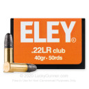 Premium Competition Target 22 LR Ammo For Sale - 40 gr Solid Ammunition by Eley Club - 50 Rounds