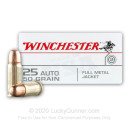 25 ACP - 50 gr FMJ - Winchester USA - 50 Rounds