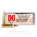 Cheap 22-250 Rem Hornady Ammo For Sale - 55 gr V-Max Ammunition In Stock by Hornady - 20 Rounds