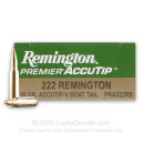 Premium 222 Rem Ammo For Sale - 50 Grain AccuTip-V BT Ammunition in Stock by Remington Premier - 20 Rounds