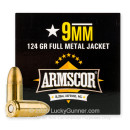 Cheap 9mm Ammo For Sale - 124 Grain FMJ Ammunition in Stock by Armscor - 100 Rounds