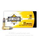 22 LR Ammo For Sale - 40 gr LS - Lead Solid Armscor Ammunition - 50 Rounds