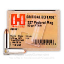 Premium 327 Federal Magnum Ammo For Sale - 80 Grain FTX Ammunition in Stock by Hornady Critical Defense - 25 Rounds