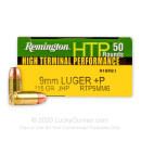 Cheap 9mm +P Ammo For Sale - 115 gr JHP Remington HTP Ammunition In Stock - 50 Rounds