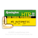 Cheap 45 ACP Ammo For Sale - 185 gr JHP Remington HTP Ammunition In Stock - 50 Rounds
