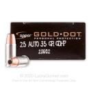 25 ACP - 35 gr JHP - Speer Gold Dot Ammunition - 20 Rounds