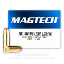 Premium 500 S&W Ammo For Sale - 325 Grain SJSP-Flat Ammunition in Stock by Magtech Light Loading - 20 Rounds