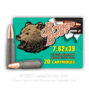 Cheap 7.62x39 Ammo For Sale - 123 gr HP Polymer Coated Ammunition by Brown Bear In Stock - 20 Rounds