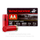 "Premium 12 Gauge Ammo For Sale - 2 3/4"" 1 1/8 oz. #7 1/2 Shot Ammunition in Stock by Winchester AA - 25 Rounds"