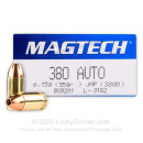 Bulk 380 Auto Defense Ammo In Stock - 95 gr JHP - 380 ACP Ammunition by Magtech For Sale - 1000 Rounds