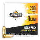 Cheap 9mm Ammo For Sale - 115 Grain FMJ Ammunition in Stock by Armscor Rock Pack - 200 Rounds