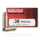 Premium 38 Special Ammo For Sale - 125 Grain JHP Ammunition in Stock by Black Hills Ammunition - 50 Rounds